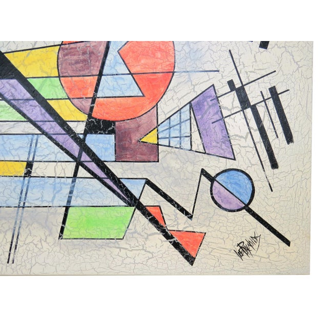 Canvas 1980s Lee Reynolds Large Abstract Painting in the Style of Wassily Kandinsky For Sale - Image 7 of 11