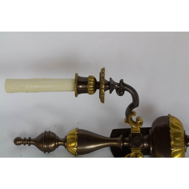 Early 20th Century Two Toned Gilt Bronze Sconces - a Pair For Sale - Image 4 of 7