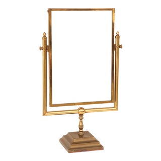 Brass Dressing Table Mirror - Pivoting Mirror on Stand For Sale