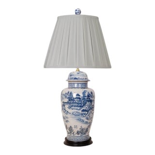 Blue and White Porcelain Chinoiserie Lamp With Pleated Shade For Sale