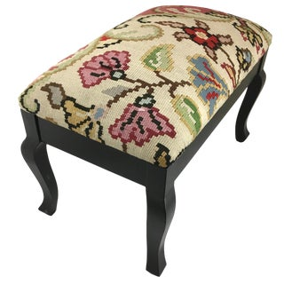Floral Kilim Ottoman | Black Chippendale Leg For Sale