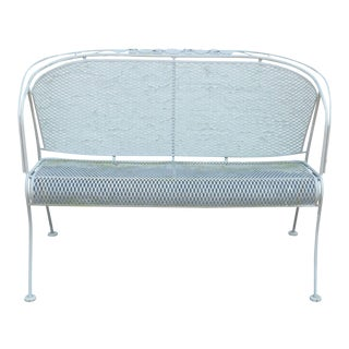 Woodard Vintage Wrought Iron Patio or Garden Settee For Sale