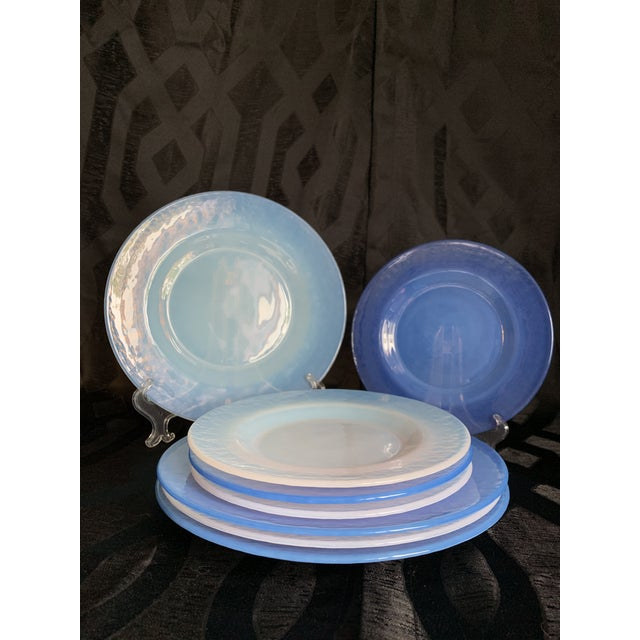 Cenedese Italian Murano Blue Translucent Opalescent Plate Settings - Set of 8 For Sale - Image 9 of 11
