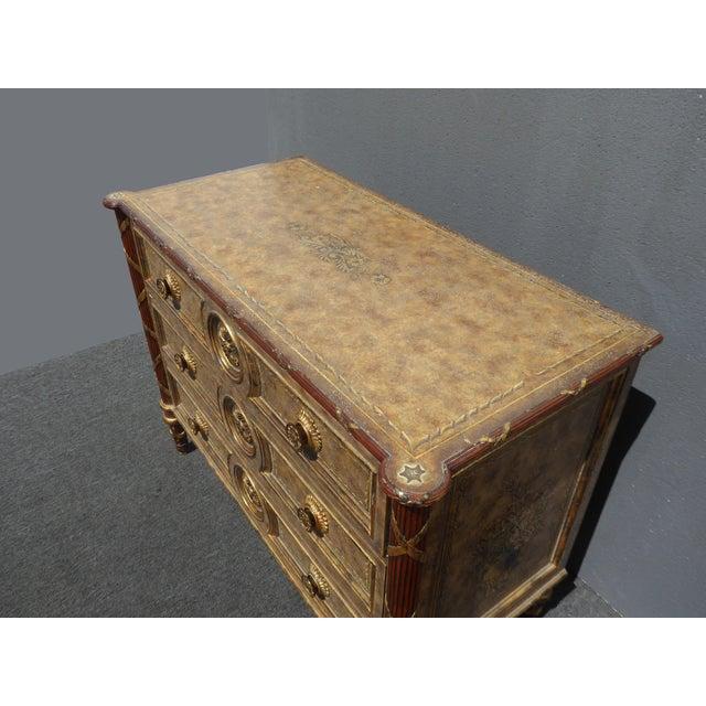 Red Vintage Maitland Smith Beige & Gold Ornate 3 Drawer Chest ~ Hollywood Regency Dresser For Sale - Image 8 of 13