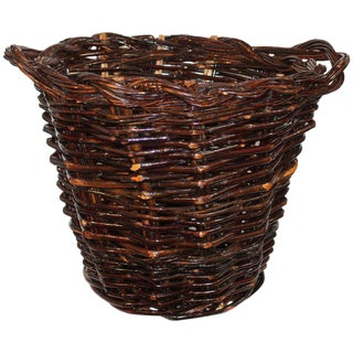 20th Century Hickory Gathering Basket For Sale