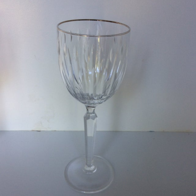 1970s Cut Crystal Gold Rim Wine Glasses - a Pair For Sale - Image 5 of 13