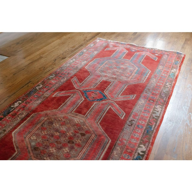 """Raspberry Red 1940s Vintage Nomadic Persian Rug-4'8'x9'7"""" For Sale - Image 8 of 13"""