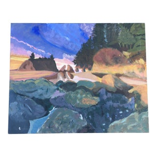 Landscape Painting in Acrylic on Canvas Board For Sale