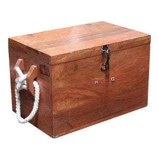Nautical Wood Ship Trunk With Rope Handles For Sale