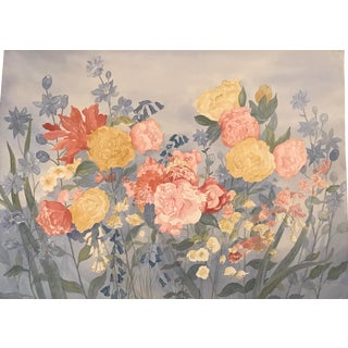 1988 Large Floral Watercolor Painting by Joyce Blakely For Sale