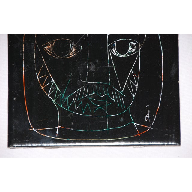 1960s Abstract Mid-Century Tile of Man's Face - Image 2 of 6