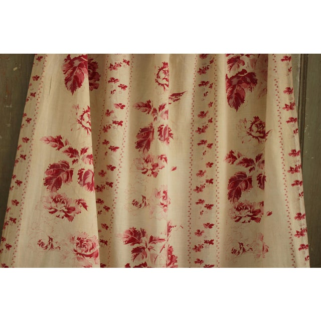 Shabby Chic Faded Floral Drape Curtain For Sale - Image 6 of 11