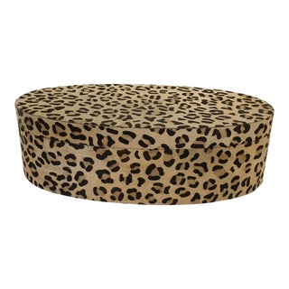 Contemporary Cowhide Black and Tan Leopard Print Oval Coffee Table Box
