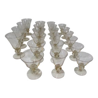 1960s Yellow Tint Stemmed Glassware - 22 Pieces For Sale