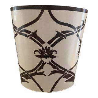 Handpainted Brown and Cream Tole Waste Bin For Sale