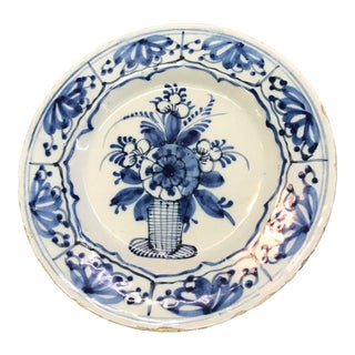 18th Century Delft Blue and White Plate For Sale