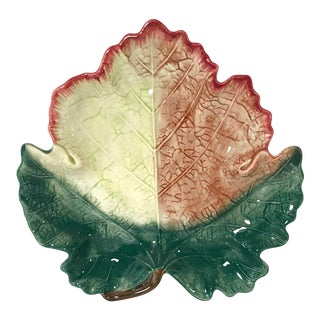 20th Century Cottage Fitz and Floyd Ironstone Leaf Dish For Sale