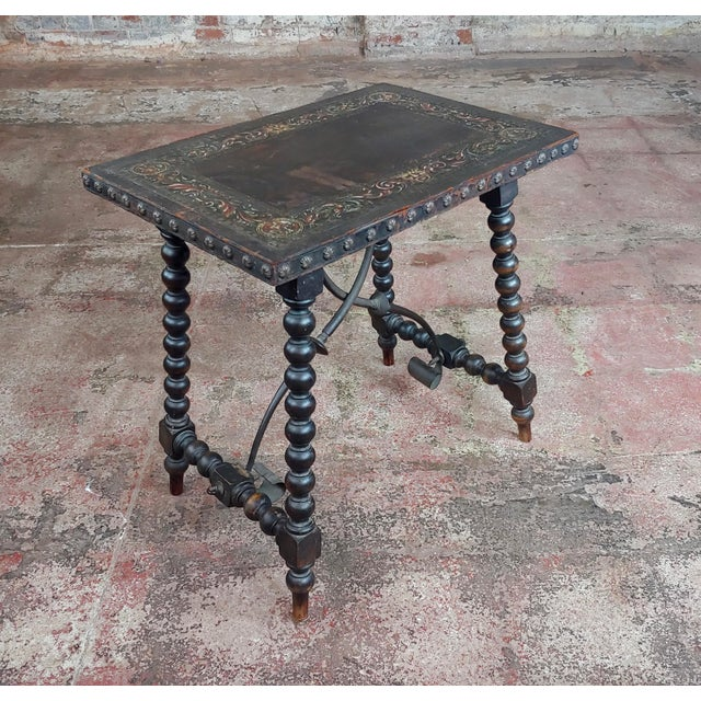 18th Century Spanish Revival Leather Top Trestle Occasional Table For Sale - Image 11 of 11