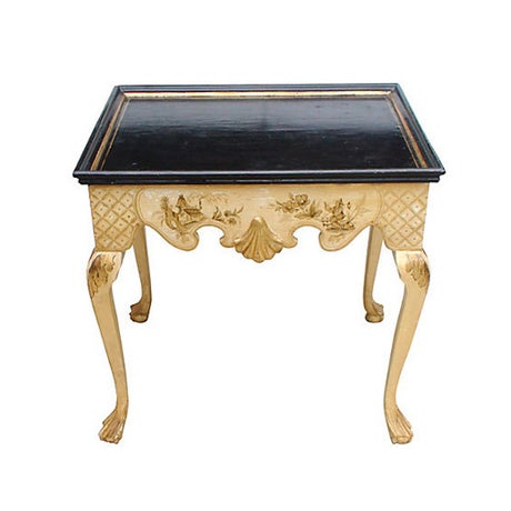Antique 19th-C. Lacquered Chinoiserie Side Table - Image 1 of 3