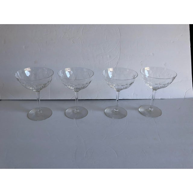 Midcentury Floral Etched Clear Champagne Glasses S/4 For Sale - Image 4 of 4