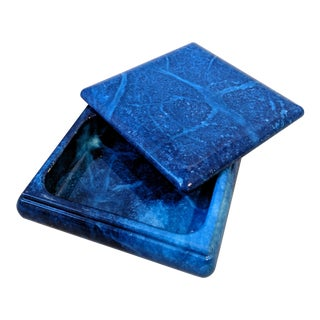 Italian Cobalt Blue Alabaster Swivel Top Box For Sale