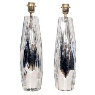 Diamond Cut Blown Glass Table Lamps - A Pair For Sale