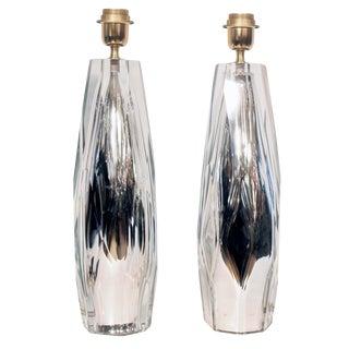 Diamond Cut Blown Glass Table Lamps - A Pair