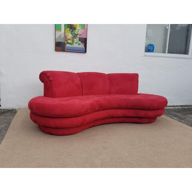 1980s Mid-Century Modern Adrian Pearsall for Comfort Red Curved Sofa For Sale - Image 12 of 12