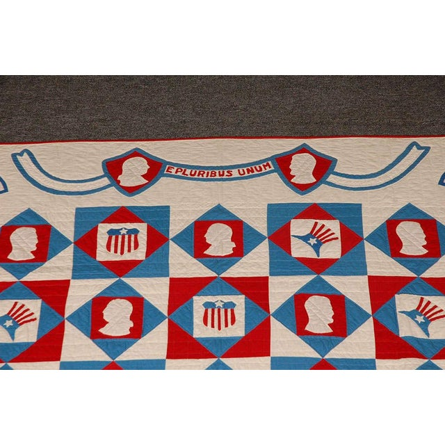 Rare Patriotic Presidential Applique Quilt from 1925 For Sale In Los Angeles - Image 6 of 9