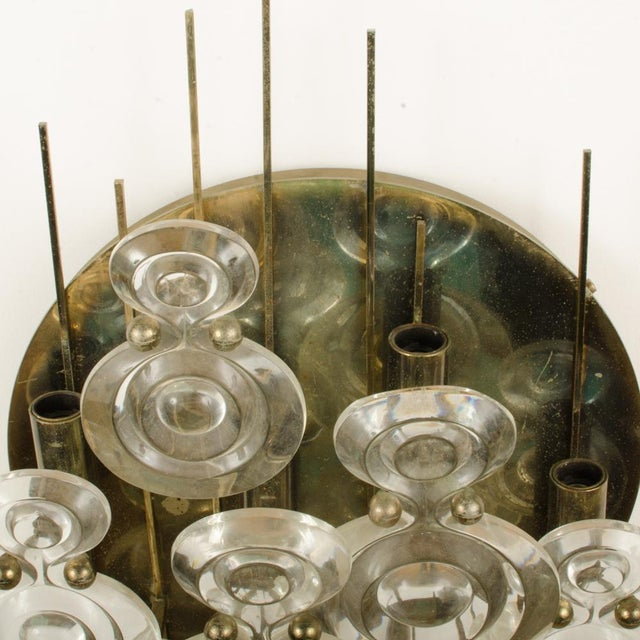 1965 Mid-Century Italian Glass And Brass Wall Sconce For Sale - Image 4 of 13