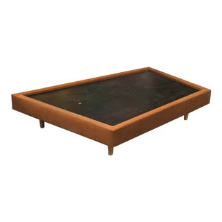 Mid Century Modern Custom Leather Wrapped Coffee Table For Sale