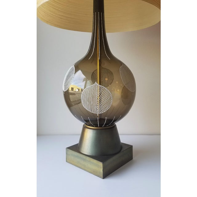 1960s 1960s Lotte and Gunnar Bostlund Hand Painted Glass Table Lamp For Sale - Image 5 of 11