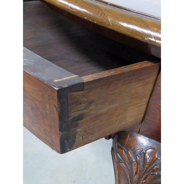 Queen Anne Queen Anne Burl Walnut Demilune Console Table For Sale - Image 3 of 10