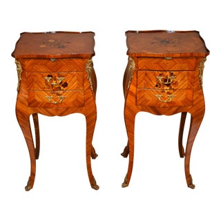 1920 Antique French Louis XV Walnut & Satinwood Inlay Nightstands - a Pair For Sale