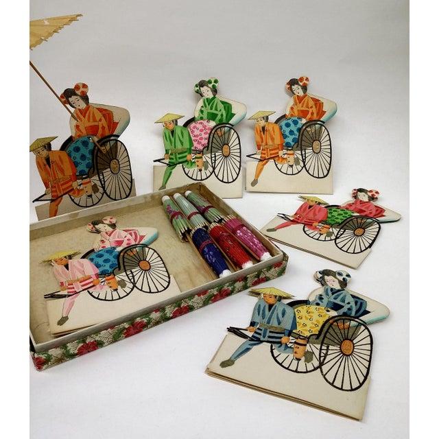 Vintage Japanese Paper Umbrella & Rickshaw Placeholders Set - Image 5 of 9