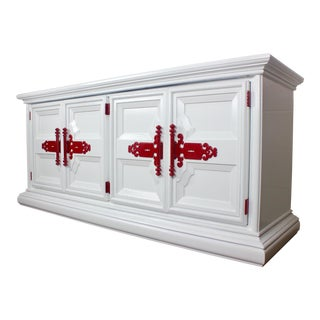 1980s Traditional White and Red Sideboard Credenza For Sale