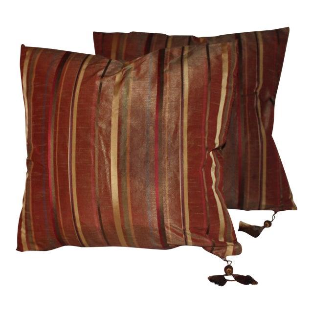 Boho Chic Golden/Copper Taffeta Pillows - a Pair For Sale