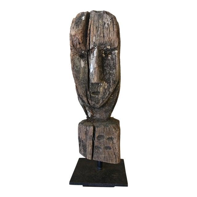 Vintage Primitive Wooden Bust - Image 1 of 6