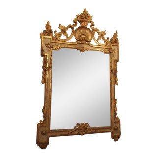 Period Louis XVI Mirror With a Shell Cartouche For Sale