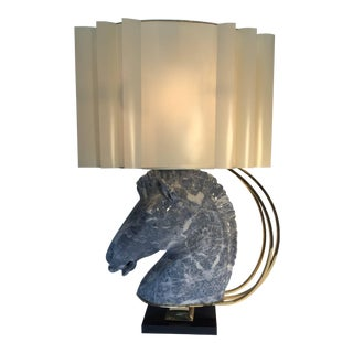 Maison Jansen Style Sculptural Ceramic and Brass Horse Head Lamp For Sale