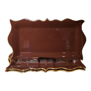 Set of 3 L' Objet Meridian Pottery Brown & Gold Platters For Sale