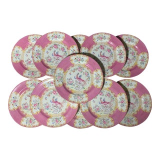Early 20th Century English Minton Pink Cockatrice Plates - Set of 11 For Sale