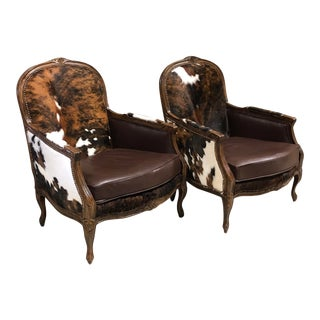 Ralph Lauren Frame Rustic Modern Cowhide Accent Chairs- a Pair For Sale