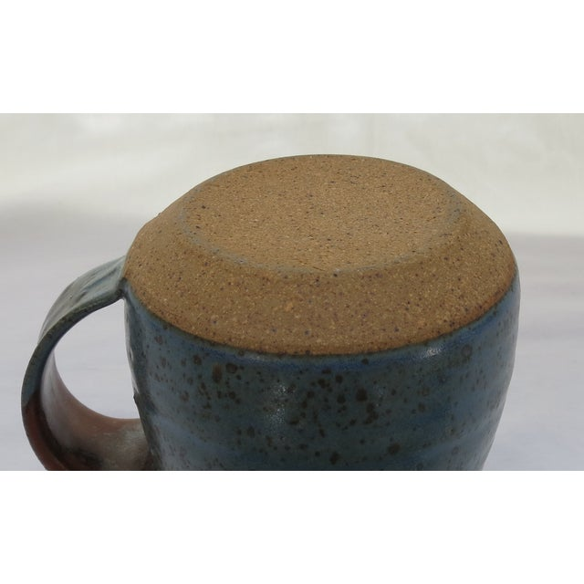 Earthenware Blue Pottery Pitcher For Sale - Image 5 of 5