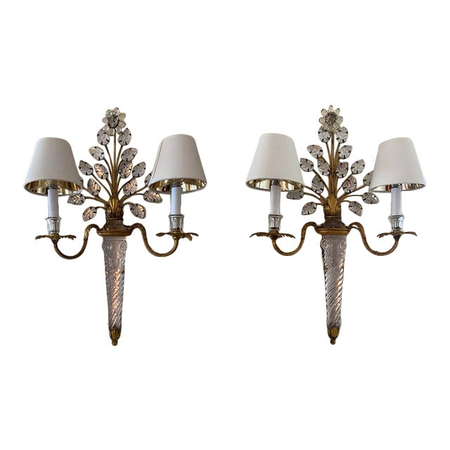 French Baccarat Sconces - a Pair For Sale