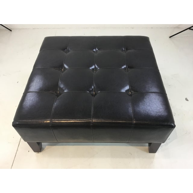 Transitional Tufted Espresso Leather Cocktail Ottoman For Sale - Image 4 of 6