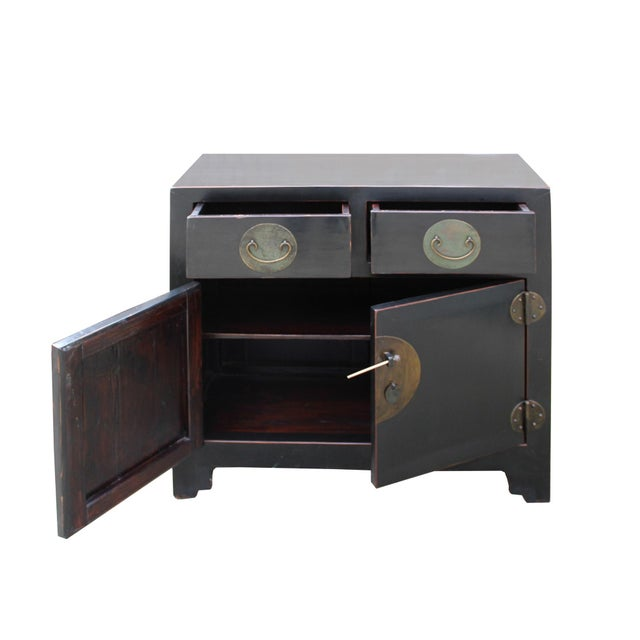 This is a handmade Chinese oriental end table nightstand with two small drawers and two doors. The surface is finished...