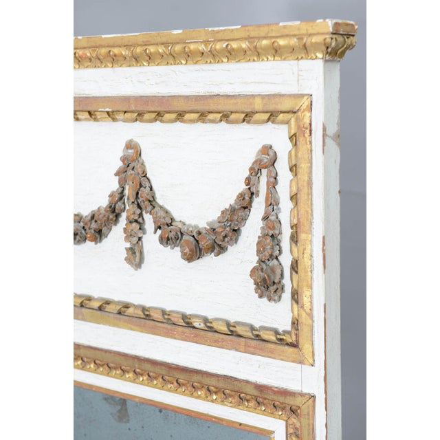 Narrow 19c. Painted and Parcel Gilt French Trumeau Mirror For Sale In West Palm - Image 6 of 11