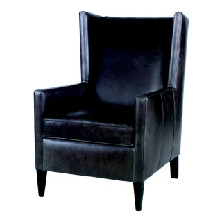 Century Furniture Buford Wing Chair, Taupe Leather For Sale