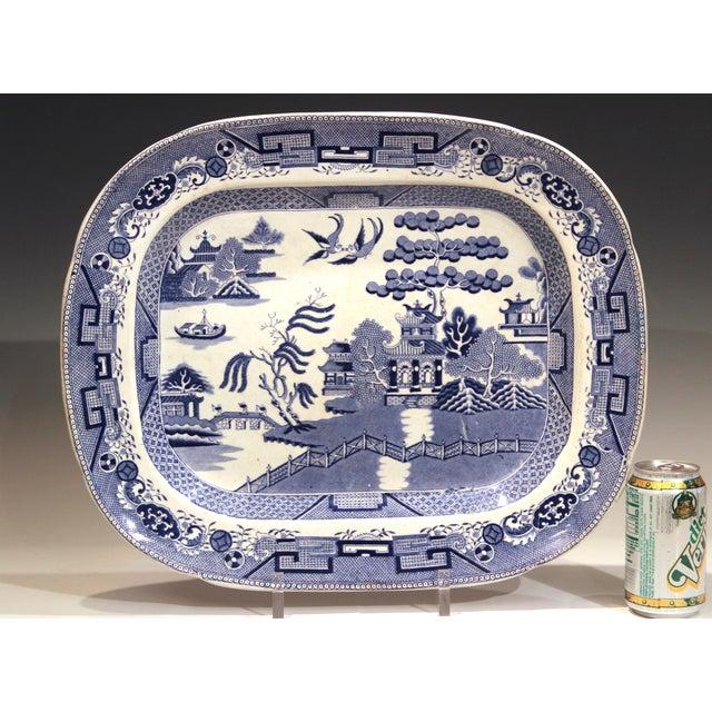 Antique Staffordshire Blue Willow Platter Large Server Platter For Sale - Image 10 of 11